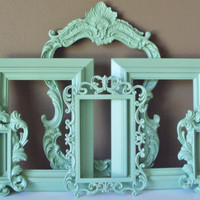 Picture Frames Shabby Beach Cottage Chic MINT or ANY Color Open Frames Wall Gallery 6 French Inspired Wedding Baby Home Decor Wall Art Gift