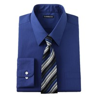 Croft & Barrow Classic-Fit Point-Collar Dress Shirt and Striped Tie Boxed Set - Big &
