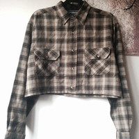 Grunge 90's Cropped Flannel Button Up Shirt