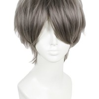 L-email Mens Short Straight Cosplay Wig Grey ML195