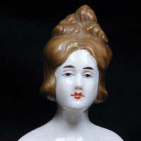 LARGE German Porcelain Half Doll / Hand Painted Victorian Lady