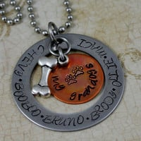 """Personalized Hand Stamped Stainless Steel Necklace  """"My Grandogs"""""""