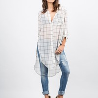 Stay on Grid Tunic Blouse
