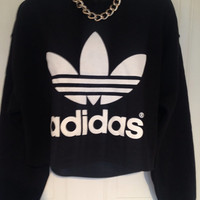 sassy customised adidas  cropped sweatshirt  t shirt sz medium grunge festival fashion