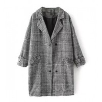Dogtooth Print Double Breasted Cocoon Coat