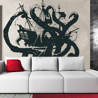 Wall Decal Vinyl Sticker Decals Art Decor Design Pirates Ship Skull Guns Sail Boat Octopus Ientacles Ship Kids Children Beedroom Dorm (r802)