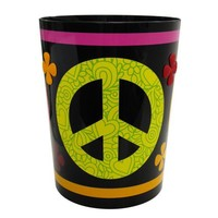 Allure Home Creations Peace Out Printed Plastic with PVC Pad Wastebasket