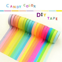 Multi-Function DIY 10PCS Rainbow Roll Self Adhesive Sticky Paper Decorative Scrapbook Note Tape (Size: 3.7cm by 3.7cm by 0.7cm)