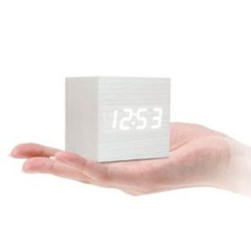 LOCOMO LED Wood Wooden Cube Digital Clock Alarm Thermometer Temperature Clap On Sound Control White