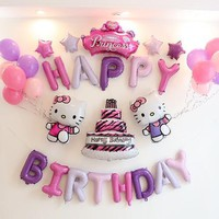 33pcs/lot Pink Unicorn Color Happy Birthday Letter Hello Kitty balloons Baby Shower Party Background Wall Decoration Supplies