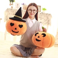 20/30/40cm Stuffed Pumpkins With Hats Halloween Gifts 3 Styles Lovely Pillow Creative Cute Soft Plush Toys Baby Loved Gifts