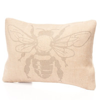 Jute Cotton Bee Print Cushion Cover (Unfilled)