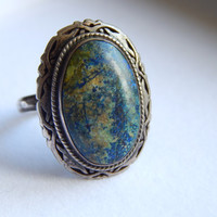 Signed Vintage Mexican Sterling Silver Natural Lapiz Lazuli Statement Ring
