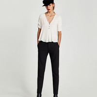 V-NECK TOP WITH DRAPED SLEEVES