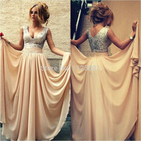 In Stock Tank V Neck Champagne Sequin Long Prom Dresses For Special Occasion Dresses 2016 Fast Delivery