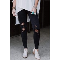 Vintage Ripped Jeggings - Black