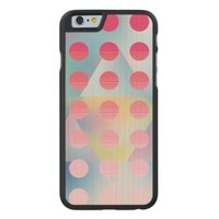 Hipster,hot pink polka dot,graphic,pattern,happy carved® maple iPhone 6 slim case