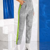 Neon Panel Plaid Tapered Pants