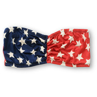 See You Monday Red & Navy Star Print Bandeau Top at Zumiez : PDP