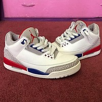 Nike AIR Jordan AJ3 high-top basketball shoes men's and women's fashion casual sports shoes white blue red