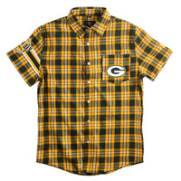Green Bay Packers Wordmark Short Sleeve Flannel Shirt by Klew - Large