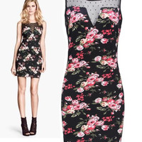 'The Jayla' Floral Printed Lace -Detailed Sleeveless Mini Dress