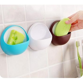 Plastic Suction Cup Soap Toothbrush Box Dish Holder Kitchen Shelf Sponge Rack Bathroom Shower Accessory soap holder bath basket