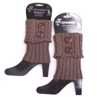 Dual Button Khaki Brown Boot Topper, Boot Cuffs