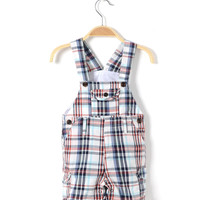 Boys Plaid Overalls