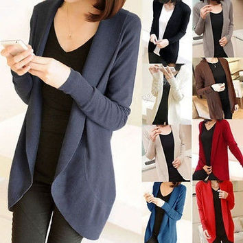 Classical Womens Long Sleeve Knit Open Front Cardigan Top Jacket Jumper Sweaters