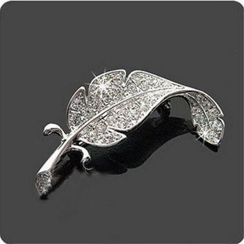 Silver Plated Feather Shape Crystal Brooches