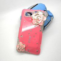Handmade hard case for HTC VIVID: Bling flowers (customized are welcome)