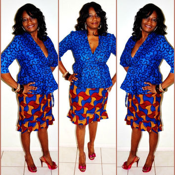 Blue And Yellow African Print Dress,  Ankara Suit, African Skirt And Blouse Suit, Handmade pencil Skirt Suit By Zabba Designs