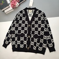 GUCCI 2021 new black and white knitted jacquard knitted cardigan