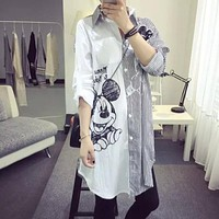 Harajuku Style 2018 New Fashion Spring Cartoon Print Sequined Striped Tops Loose Casual Cloth Women Shirt Long Sleeve Tops