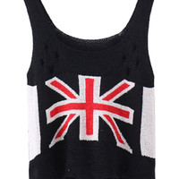 Black Ripped Knitted Sleeveless Blouse