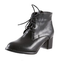 Fashion Online Women Ankle Boots Lace Up Motorcycle Boots Thick Heeled Shoes Woman 2016 3573