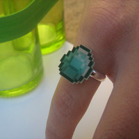 Minecraft Inspired Diamond Ring by tinybackpack on Etsy