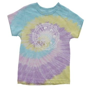 White Phases Of The Moon Compass Youth Tie-Dye T-shirt