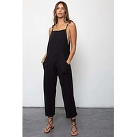 Some Beachy Overall Black Linen