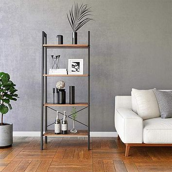 4 Tiered Rustic Wooden Ladder Shelf with Iron Framework, Brown and Black By Casagear Home