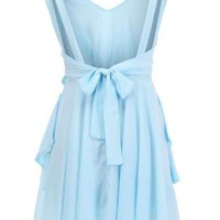 Cut-out Pleated Blue Dress S010018