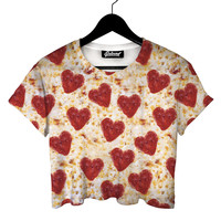 Pizza Hearts Crop Tee