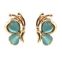 CHIC Turquoise Opal Butterfly Stud Clip On Earrings