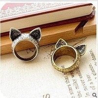 New Arrival Shiny Gift Jewelry Stylish Korean Accessory Vintage Lovely Cats Strong Character Ring [6586204039]