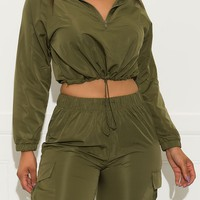 Time Out Cropped Jacket Olive