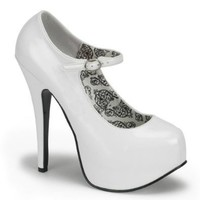 Womens Classic Mary Jane Pumps 5 3/4 Inch Heel Platform Shoes Closed Toe Pumps Size: 9 Colors: White