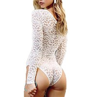 Crochet White Women Lace Bodysuits 2017 Sexy Deep V Neck Lace Up See Through Jumpsuit Party Clubwear Plus Size Rompers Playsuits