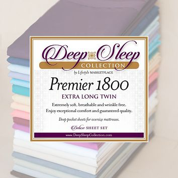 Twin XL / Dorm / Hospital Bed Sheets - Deep Sleep 1800 Thread Count Sheet Set - Breathable, Moisture Wicking, Ultra Soft, Wrinkle Free