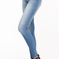 FADED LIGHT WASH SKINNY JEANS